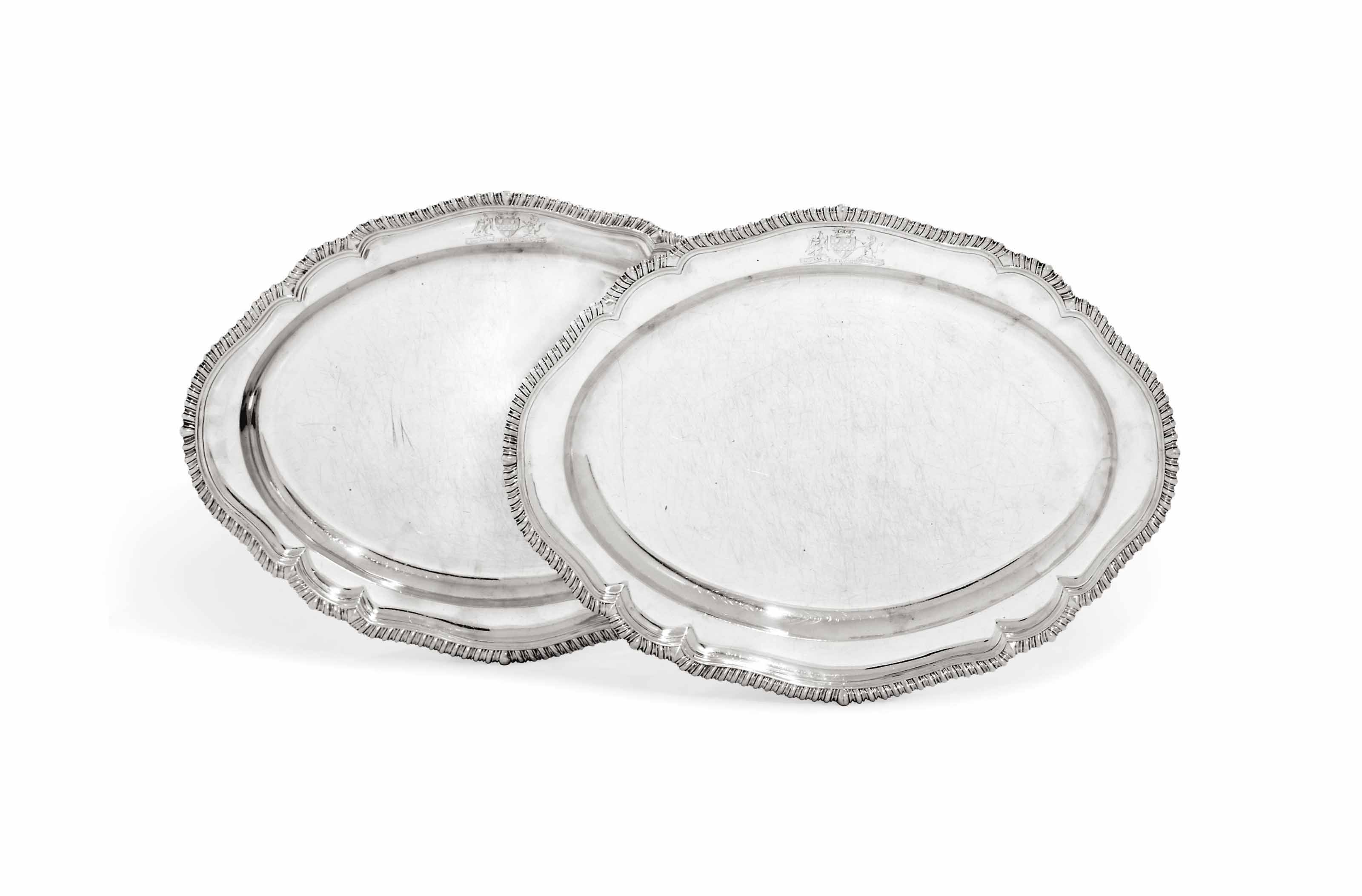 TWO GEORGE II SILVER MEAT-DISHES