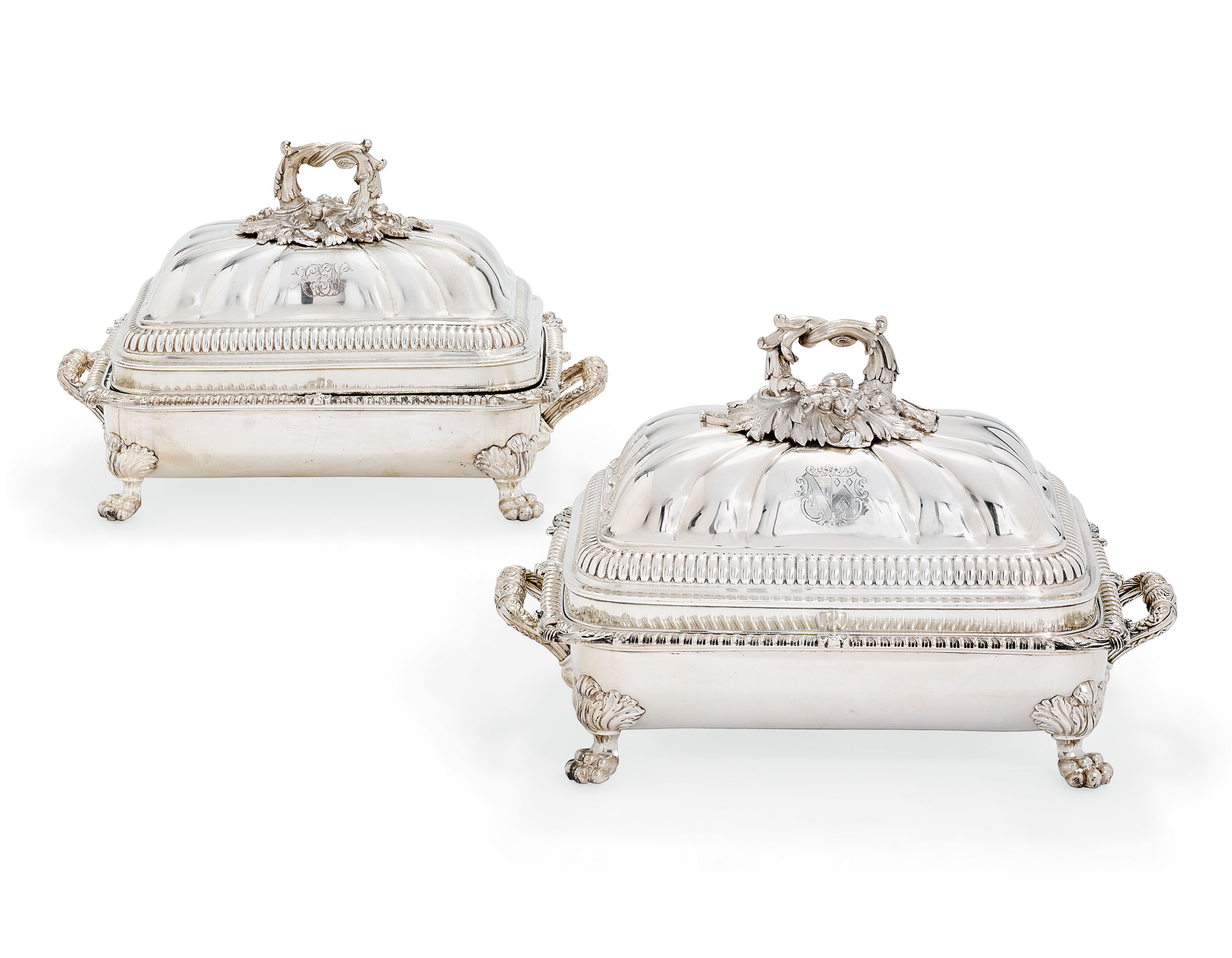 A PAIR OF GEORGE III SILVER ENTREE-DISHES AND COVERS ON OLD SHEFFIELD PLATED STANDS