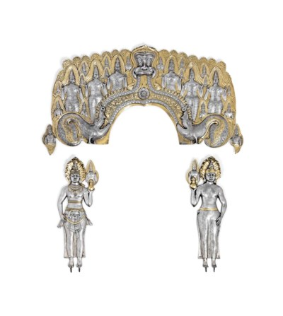 A VICTORIAN SILVER-GILT THREE-
