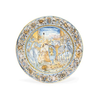 A CASTELLI LARGE ARMORIAL DISH