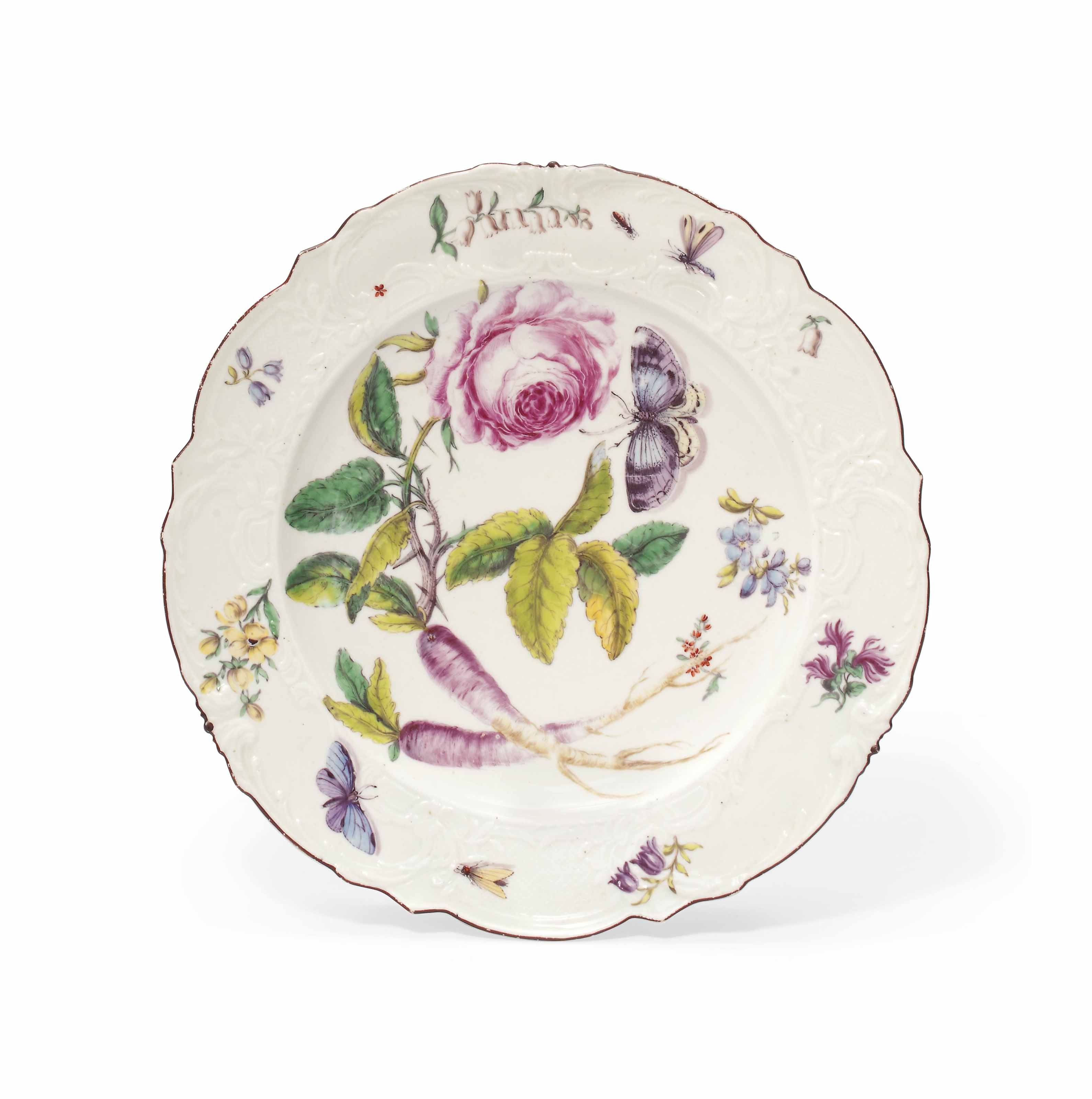 A Chelsea botanical moulded plate, circa 1755. 9½  in (24  cm) wide. Sold for £15,000 on 31 May 2012 at Christie's in London