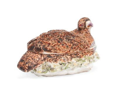 A DERBY PARTRIDGE TUREEN AND C