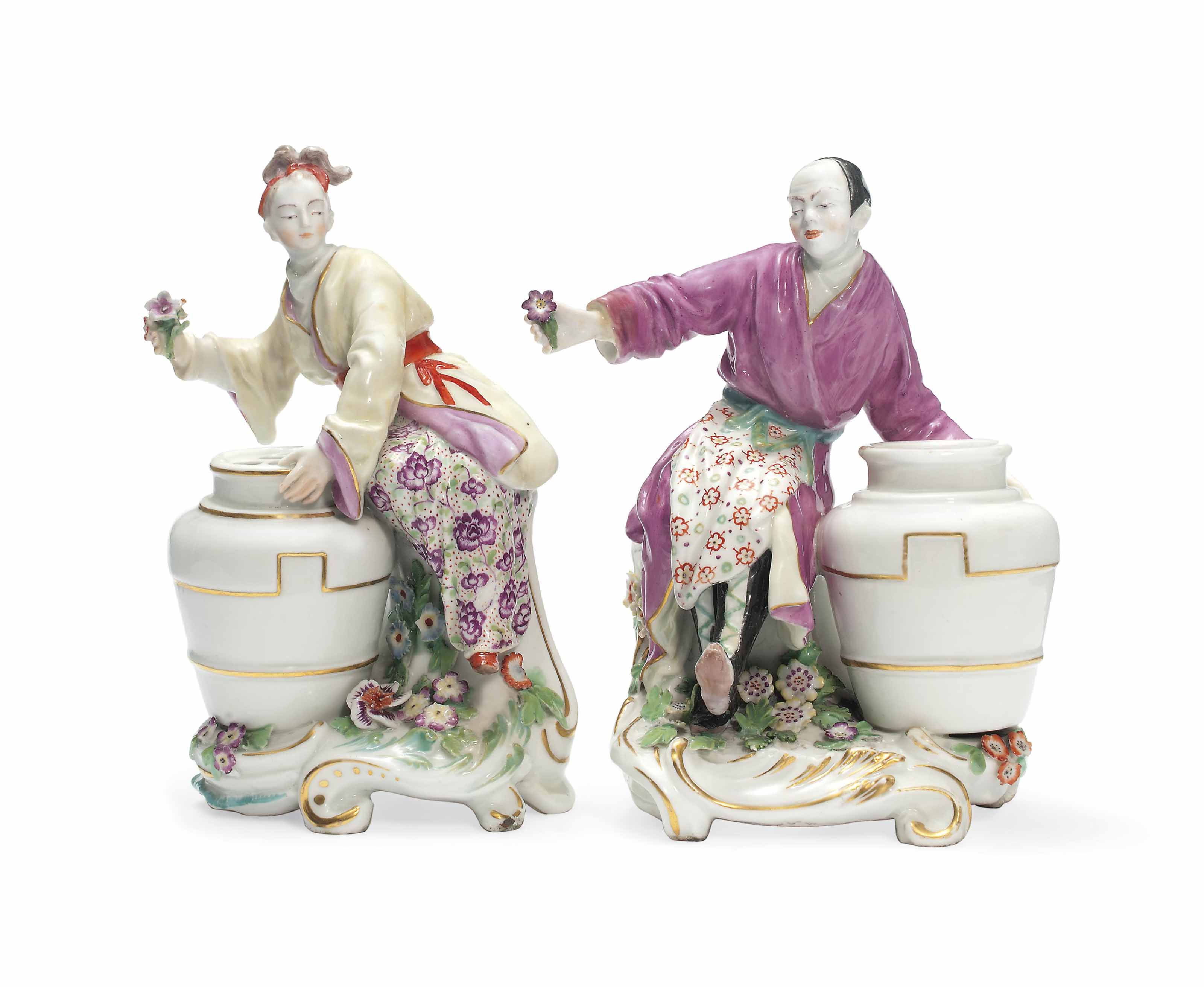 A PAIR OF CHELSEA CHINOISERIE FIGURAL POSY VASES , CIRCA