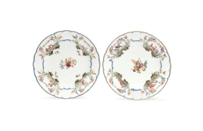 A PAIR OF MEISSEN PLATES FROM