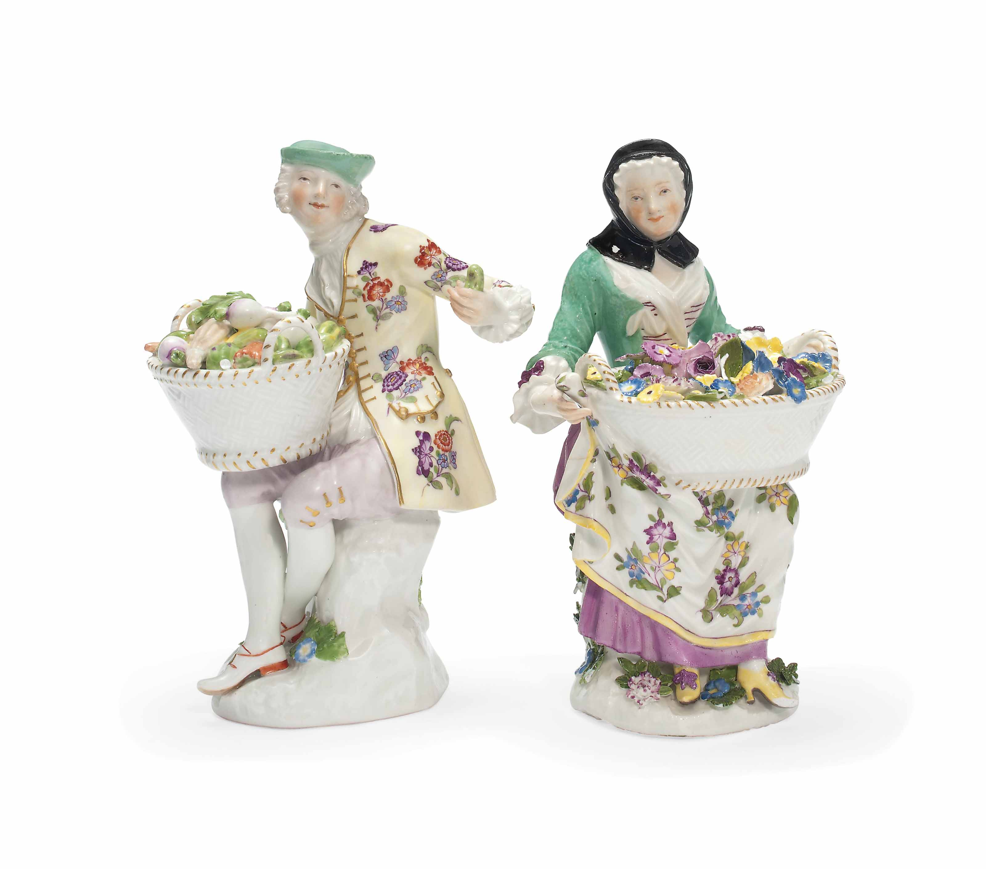 TWO MEISSEN FIGURES OF A LADY
