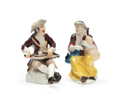A PAIR OF MEISSEN FIGURES OF B