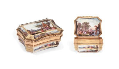 A MEISSEN GOLD-MOUNTED SHAPED-