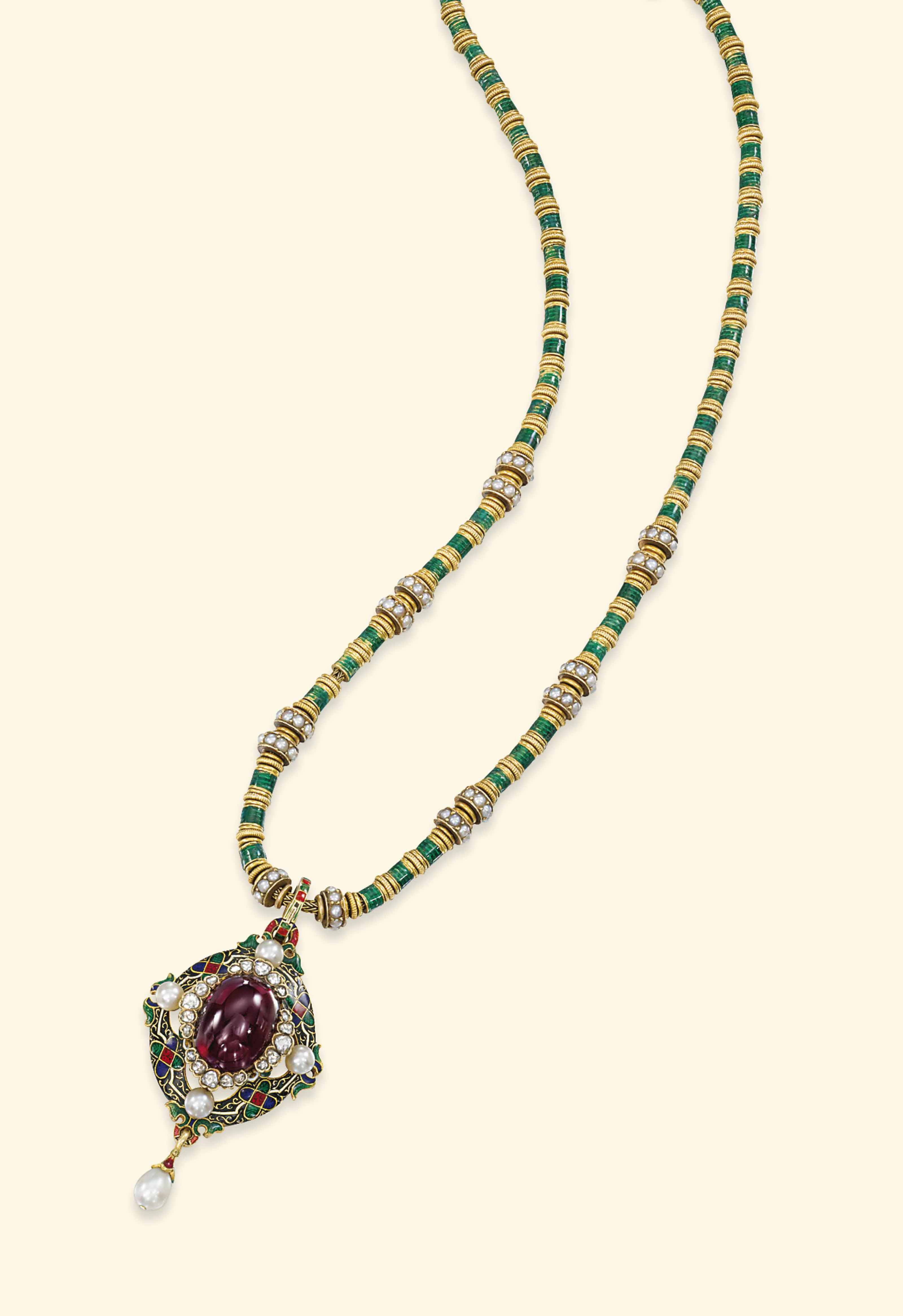 A GOLD AND ENAMEL NECKLACE, BY