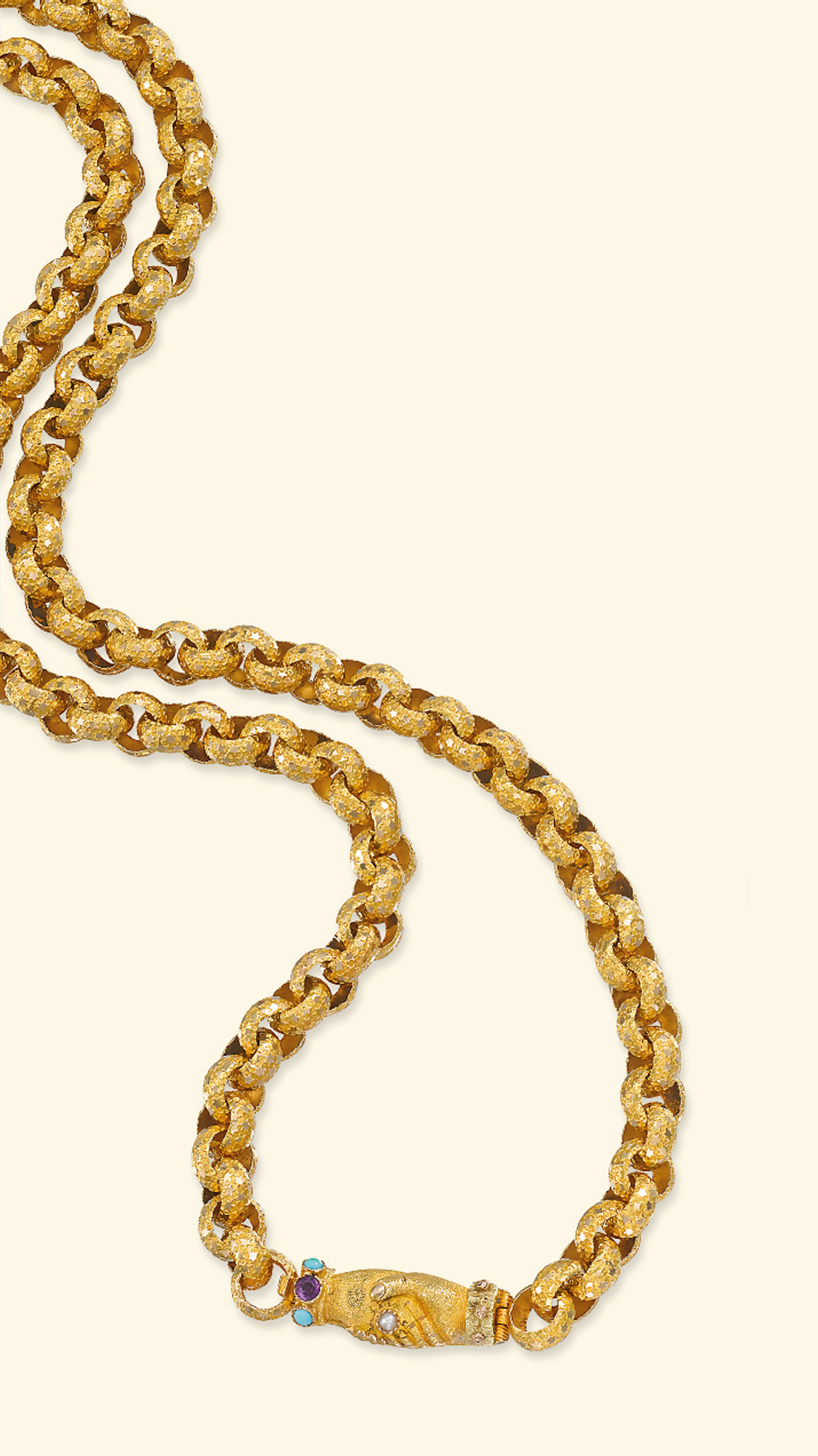 A 19TH CENTURY GOLD LONGCHAIN