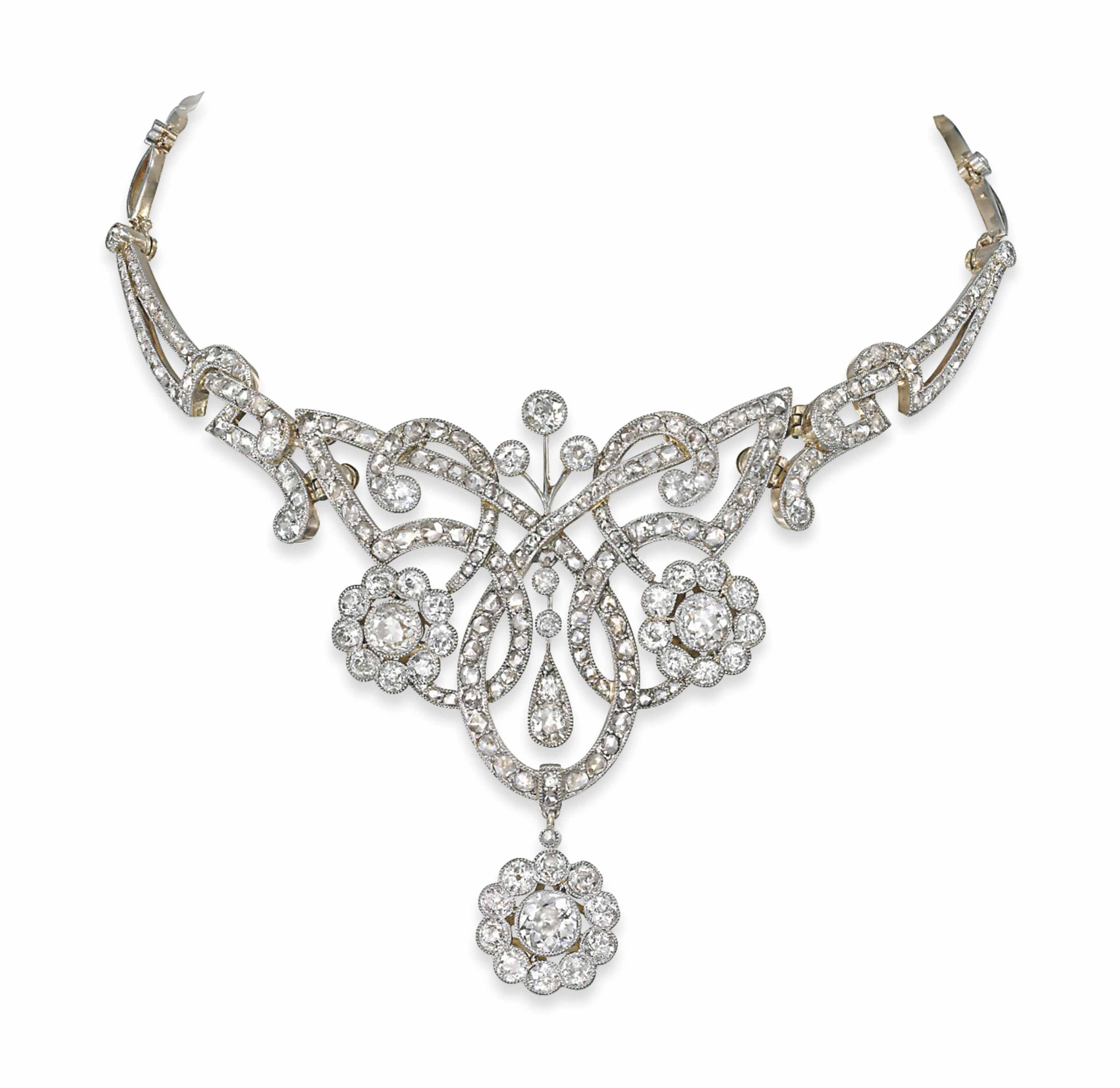pin necklace and late diamond bow as series of antique an a designed century