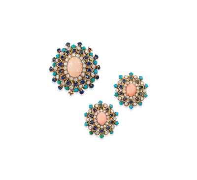 A CORAL, DIAMOND AND GEM-SET S