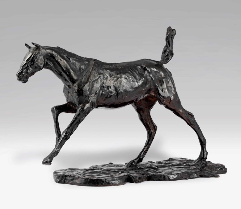 Edgar Degas (1834-1917), Cheval au galop sur le pied droit, circa 1880s-1890s; cast from 1920-1921, edition of 20. 12  in (30.5  cm). Sold for £2,617,250 on 20 June 2012 at Christie's in London