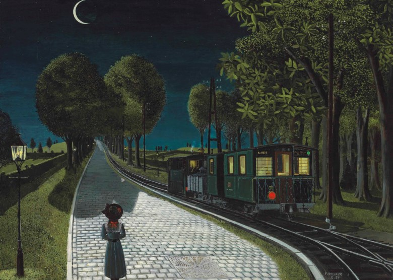 Paul Delvaux (1897-1994), Le vicinal, 1959. 48¼ x 66⅞ in (122.5 x 169.9 cm). Sold for £2,729,250 on 20 June 2012 at Christie's in London. Artwork © Foundation Paul Delvaux, Sint-Idesbald — SABAM BelgiumDACS 2020