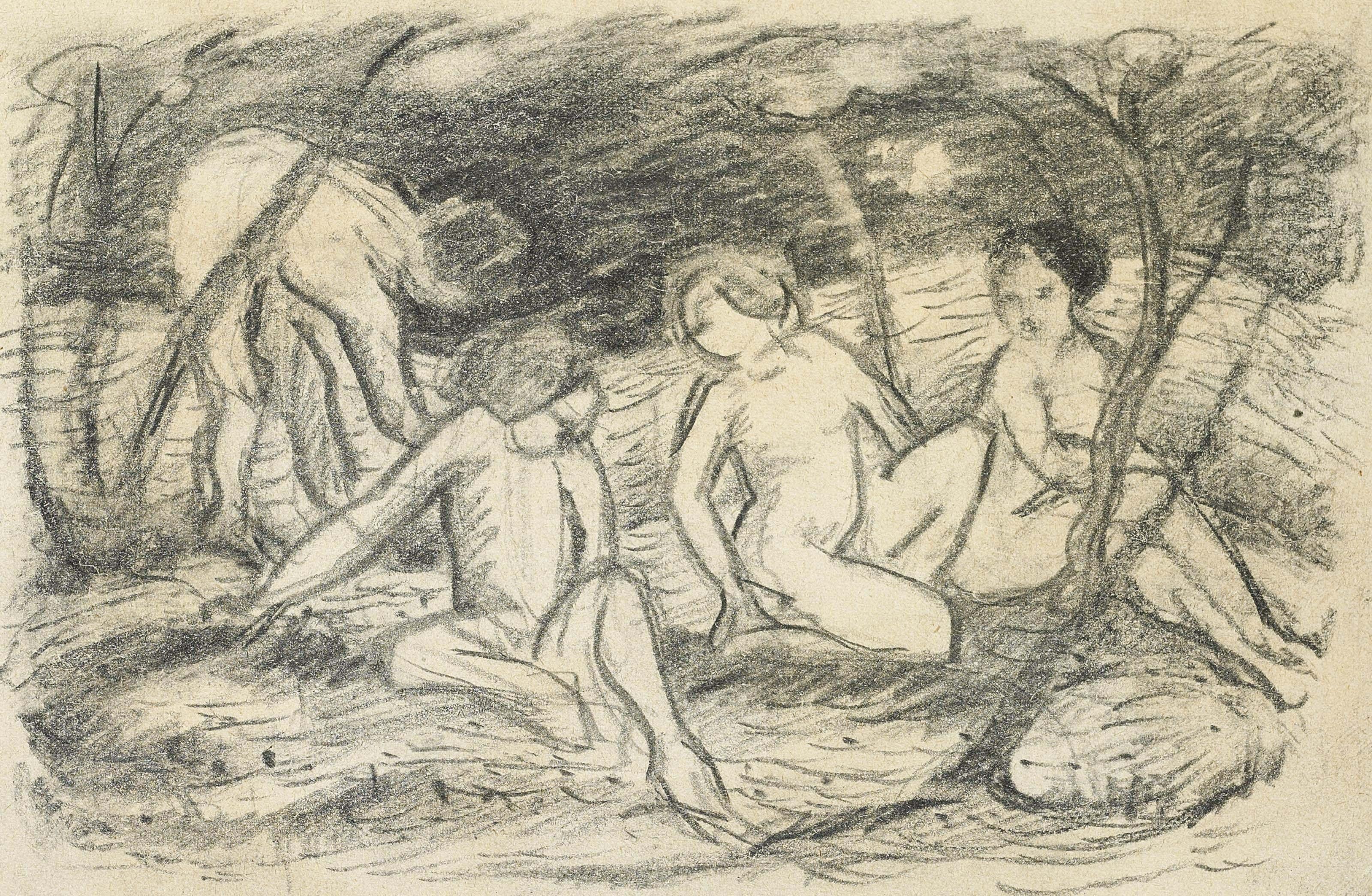 Vier weibliche Akte in einer Landschaft