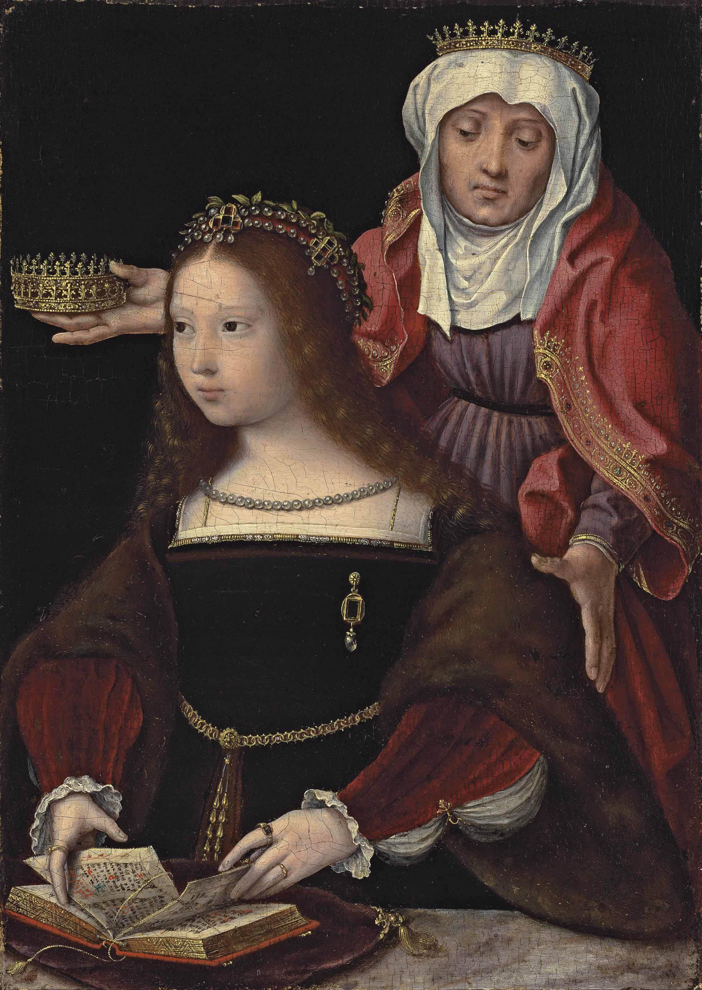Flemish School Circa 1520 Portrait Of A Lady Possibly