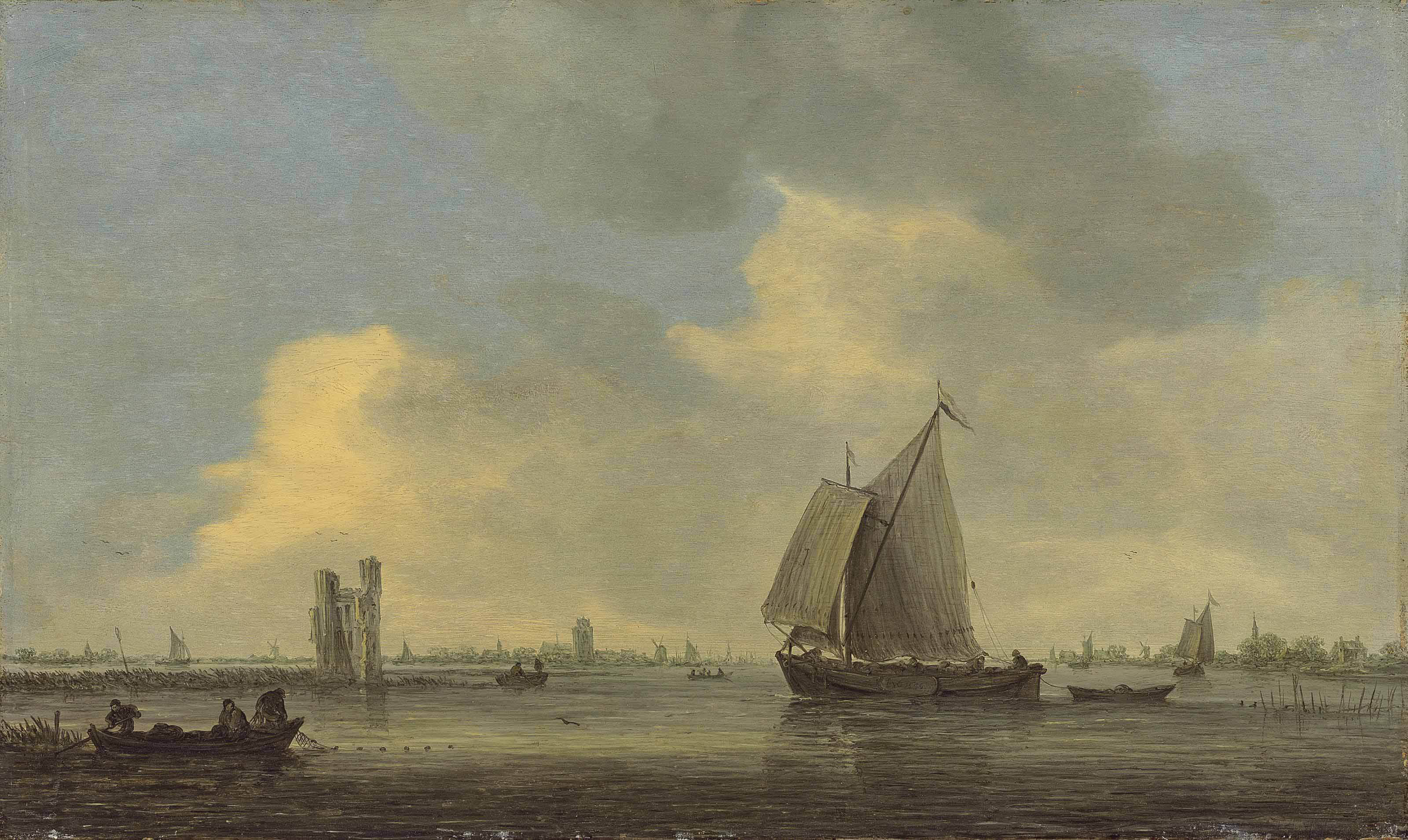 The Merwede with a sailing boat and fishermen throwing out their nets near the Huis te Merwede, Dordrecht, with the Grote Kerk and windmills beyond