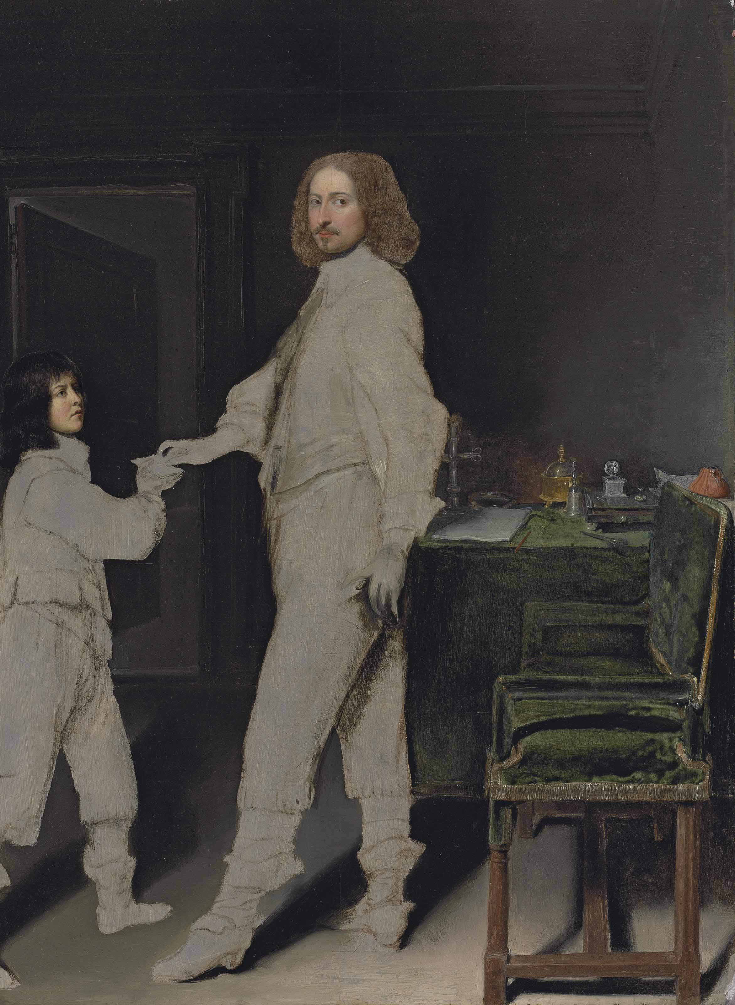 Portrait of a man, full-length, handing a letter to a boy, in an interior