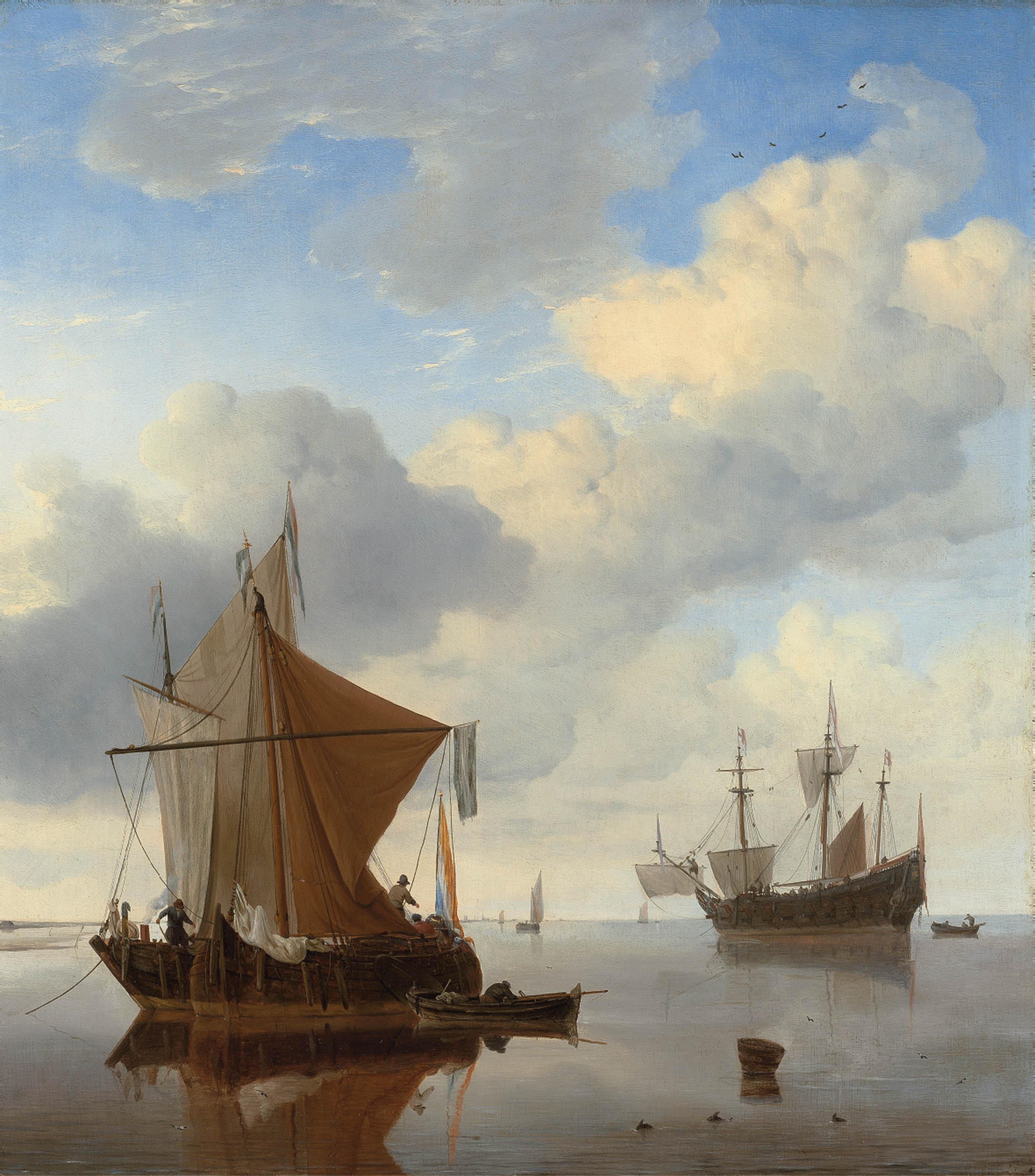 A Calm - A smalschip and a kaag at anchor with an English man-o'-war beyond