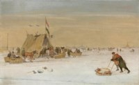 A winter landscape with figures on the ice by a koek-en-zopie tent