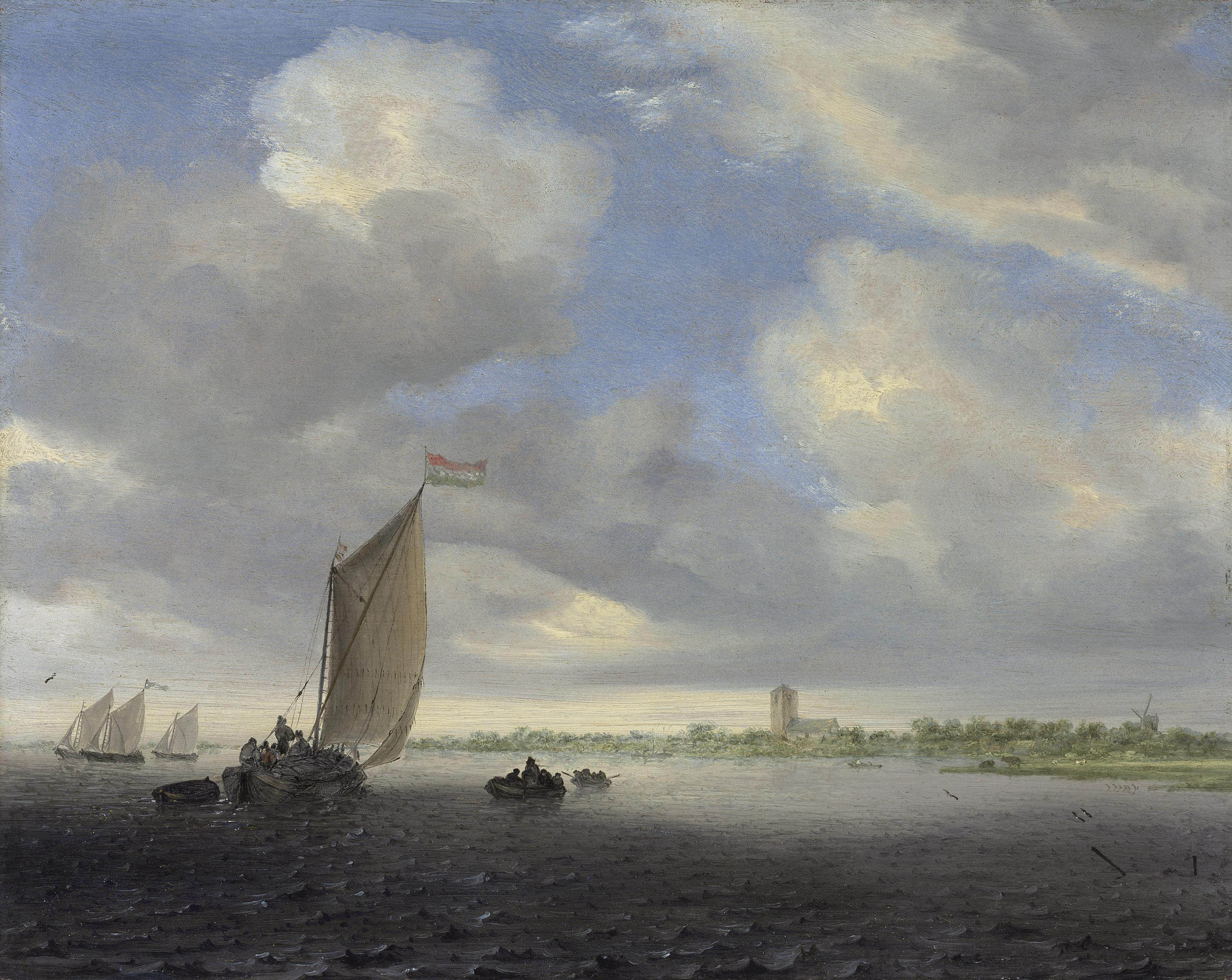 A wijdship and other small Dutch vessels on an estuary, a church beyond