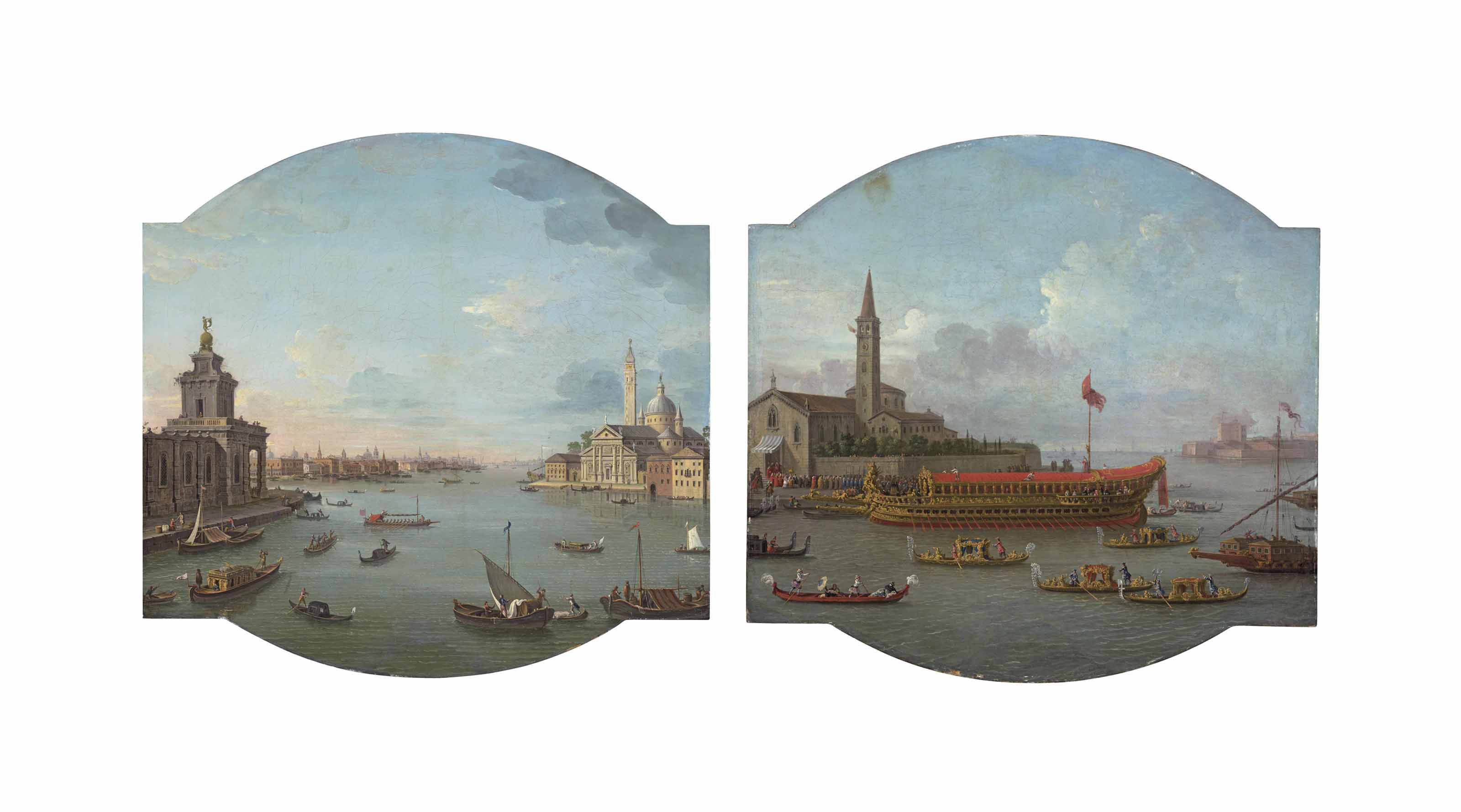 A View of San Giorgio Maggiore, Venice, with the Punta della Dogana in the foreground; and A view of the Bucintoro anchored in front of San Nicolò al Lido, Venice, for the ceremony of the 'Sposalizio del Mare'