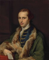 Portrait of the Rev. Thomas Kerrich (1748-1828), in an embroidered blue waistcoat and fur-lined green coat, holding a letter in his right hand, by a column