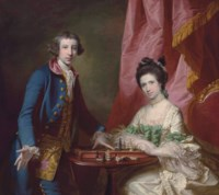 Portrait of William Earle Welby (c. 1734-1815), of Denton, Lincolnshire and his first wife, Penelope (1737-1771), playing chess, before a draped curtain