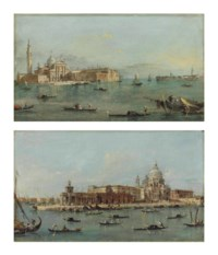 The Island of San Giorgio Maggiore, Venice, seen from the Bacino; and The Dogana and Santa Maria della Salute, Venice, from the Riva del Grano, the Giudecca and the Redentore beyond, with numerous gondolas and sailing boats