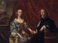 Double portrait said to be of Francis Lennard, 14th Baron Dacre (1619-1692), and Elizabeth, née Bayning, later Countess of Sheppey (1625-1686), three-quarter-length, the former in a black cloak, the latter in an oyster dress and blue wrap fastened with a brooch, seated before a red draped curtain, a wooded landscape beyond