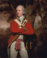 Portrait of General Duncan Campbell, of Lochnell and Barbreck, Argyll (1763-1837), three-quarter-length, in a scarlet military coat with gold facings and epaulettes, white vest and breeches, a pink sash around his waist, his bearskin in his right hand, in a wooded landscape