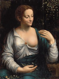 'La Columbine': Portrait of a woman as Flora, half-length, in a white, embroidered dress with a ruby brooch and a blue wrap, holding an aquilegia in her left hand, with jasmine and anemones on her lap, fern and kenilworth ivy climbing a wall beyond