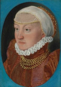 Portrait of a lady, bust-length, in a red dress and headdress