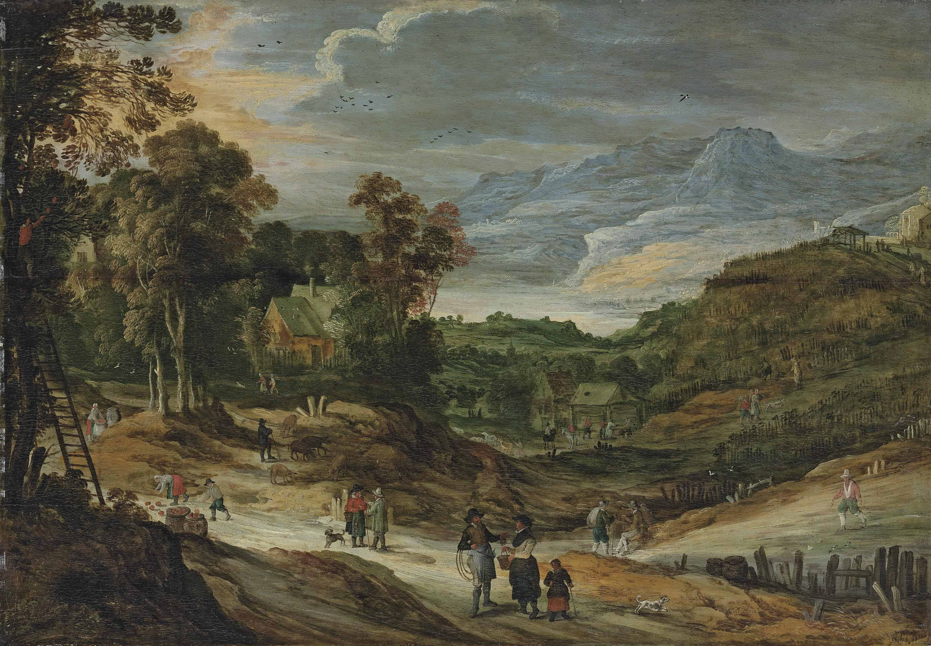 A wooded landscape with cottages, figures picking apples, mountains beyond