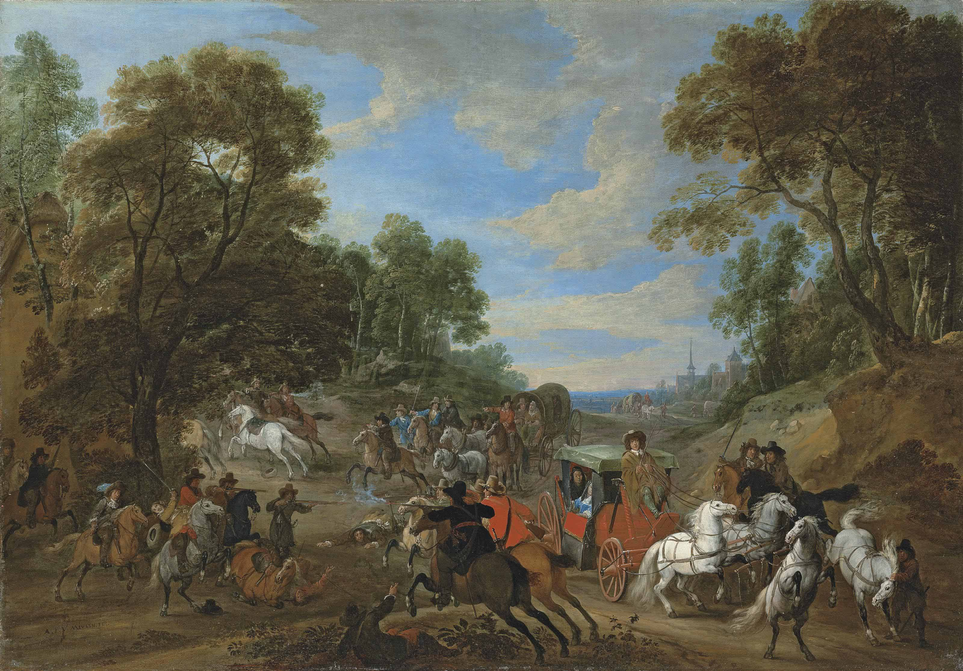 A wooded landscape with a coach being ambushed in a clearing