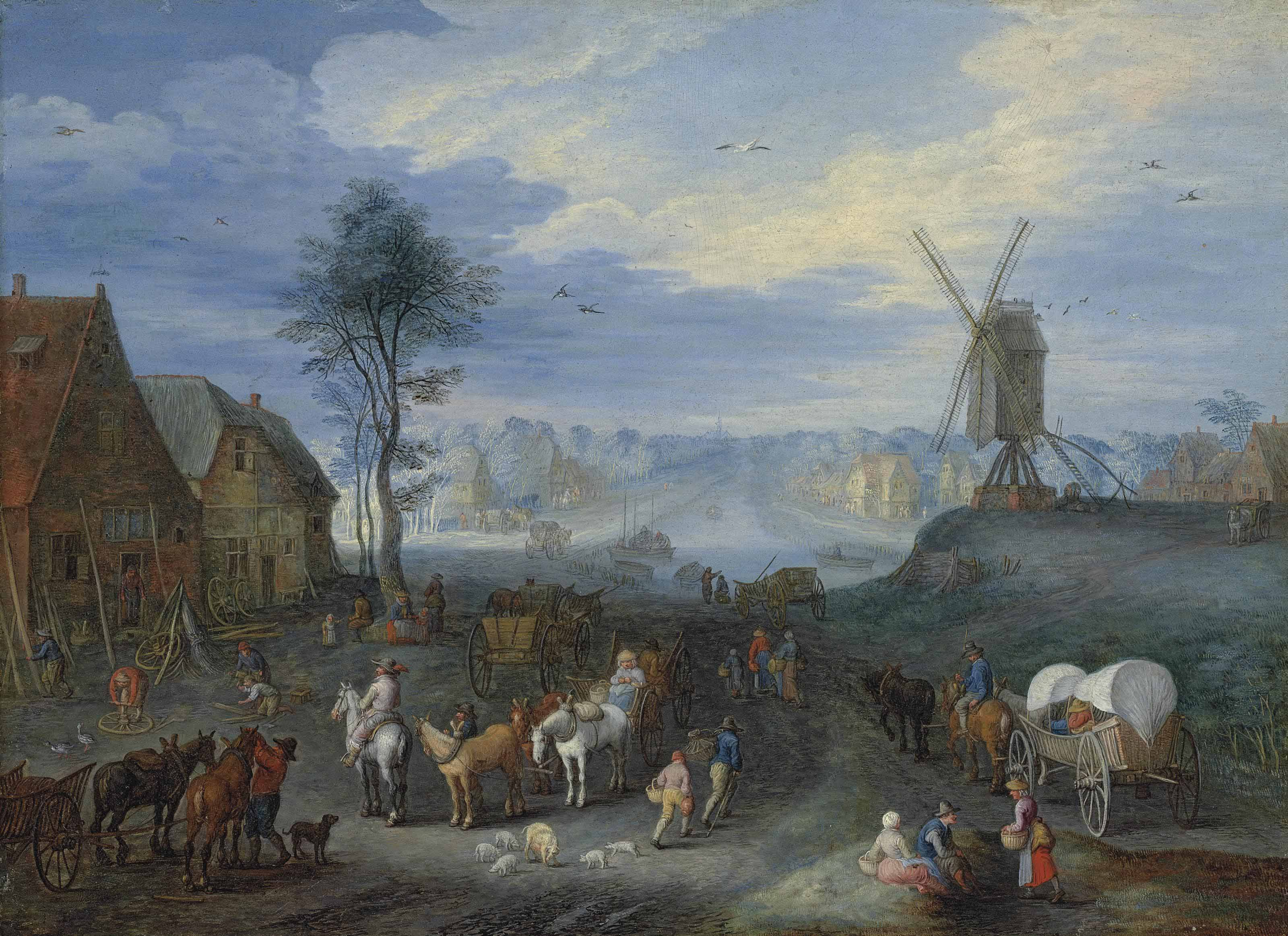 A village with a windmill, figures with horsedrawn carts in the foreground, a canal and a church beyond