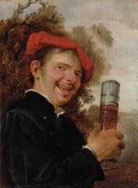 An allegory of Taste: A man, bust-length, in a black jacket and red beret, holding a pasglas