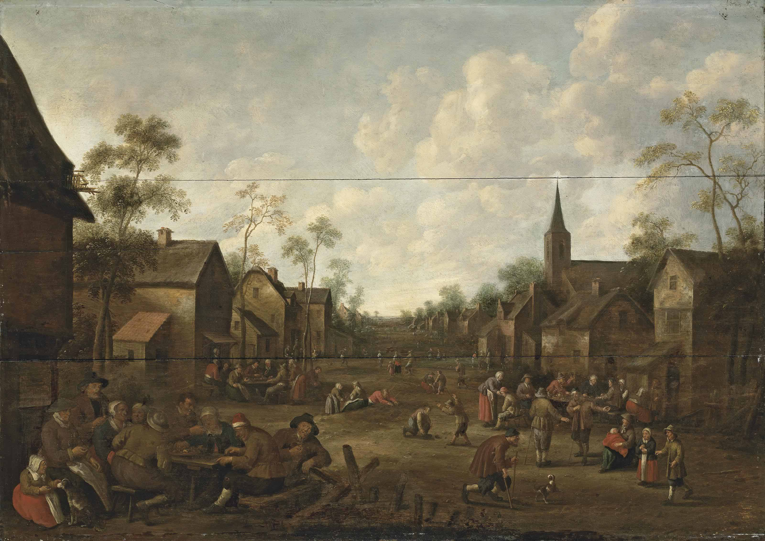 A village feast with figures outside an inn and others playing games