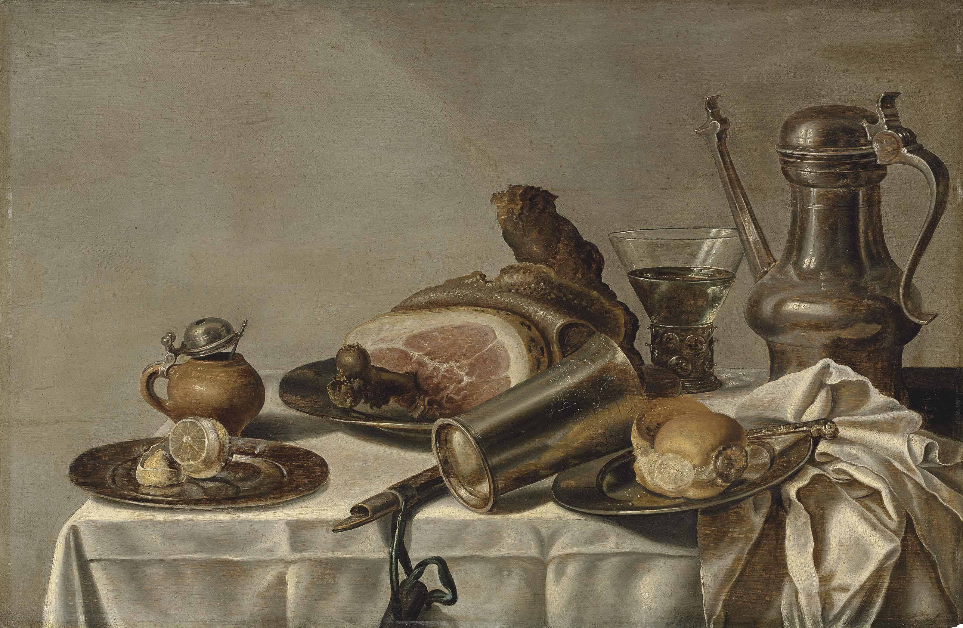 A ham on a pewter platter, a pealed lemon and a roll on pewter platters, a tankard, a roemer and a goblet, on a partly-draped table