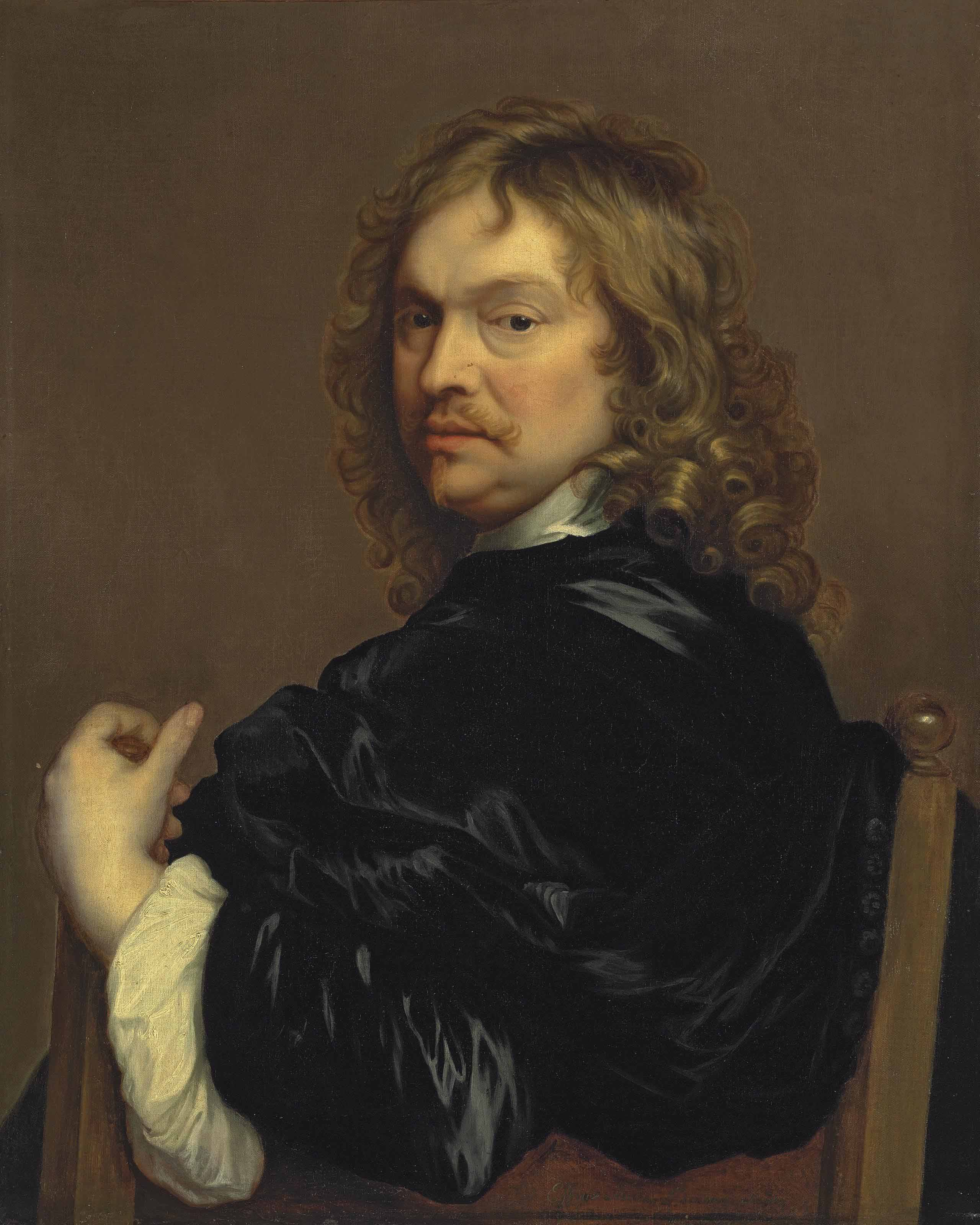 Portrait of the artist, half-length, in a black cloak, leaning on the back of a chair