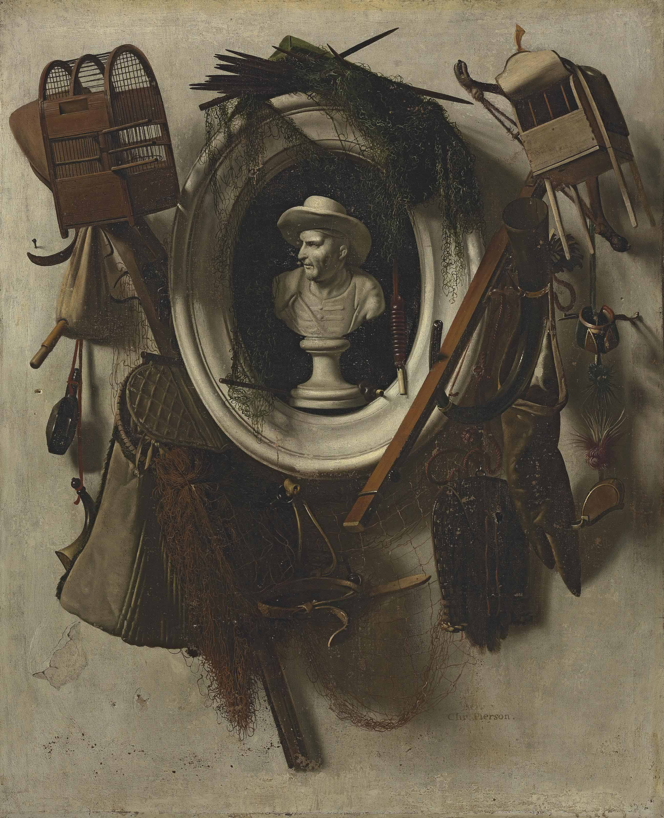 A trompe l'oeil of gaming equipment, with nets, falconry hoods, bird cages, a hunting horne and a glove, hanging on a wall, with a bust in a sculpted niche