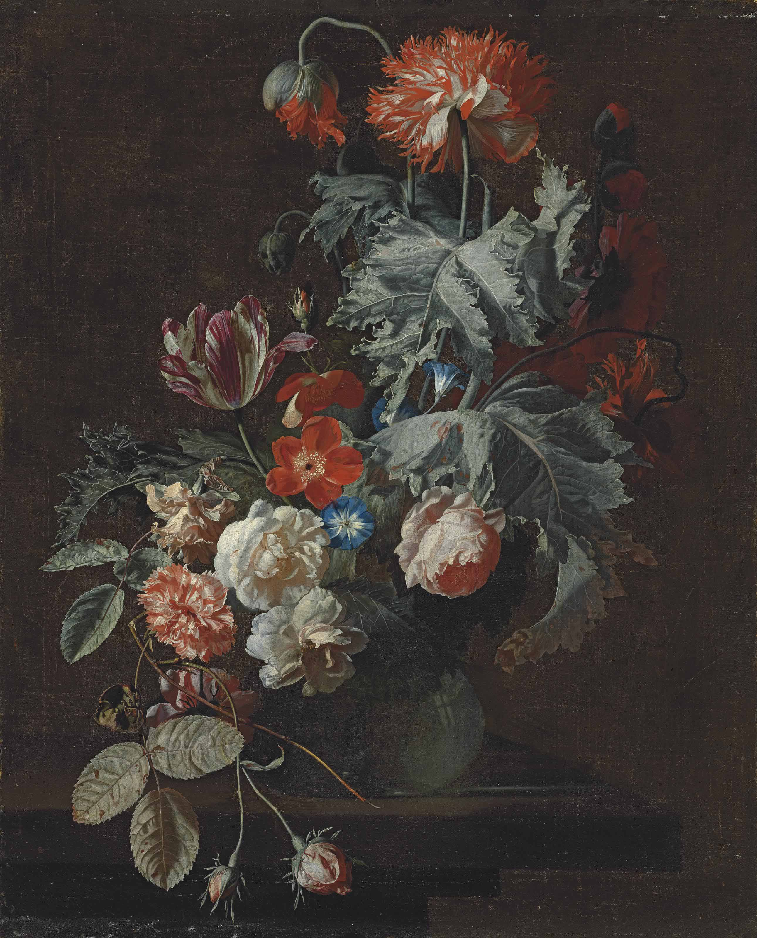 Carnations, tulips, roses, Morning Glory and other flowers in a glass vase, on a stone ledge