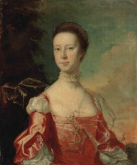 Portrait of a lady, possibly Elizabeth Pigot (c. 1726-1766), half-length, in a pink dress, with pearls and a shawl, in a wooded landscape