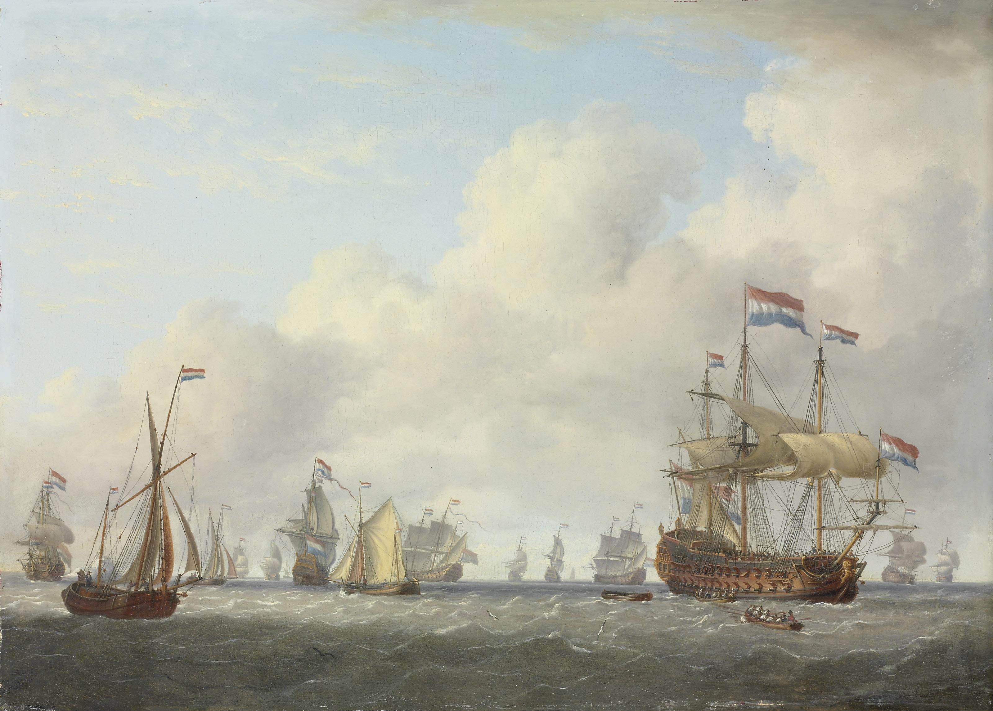 Dutch men-o'-war and other vessels in a fresh breeze