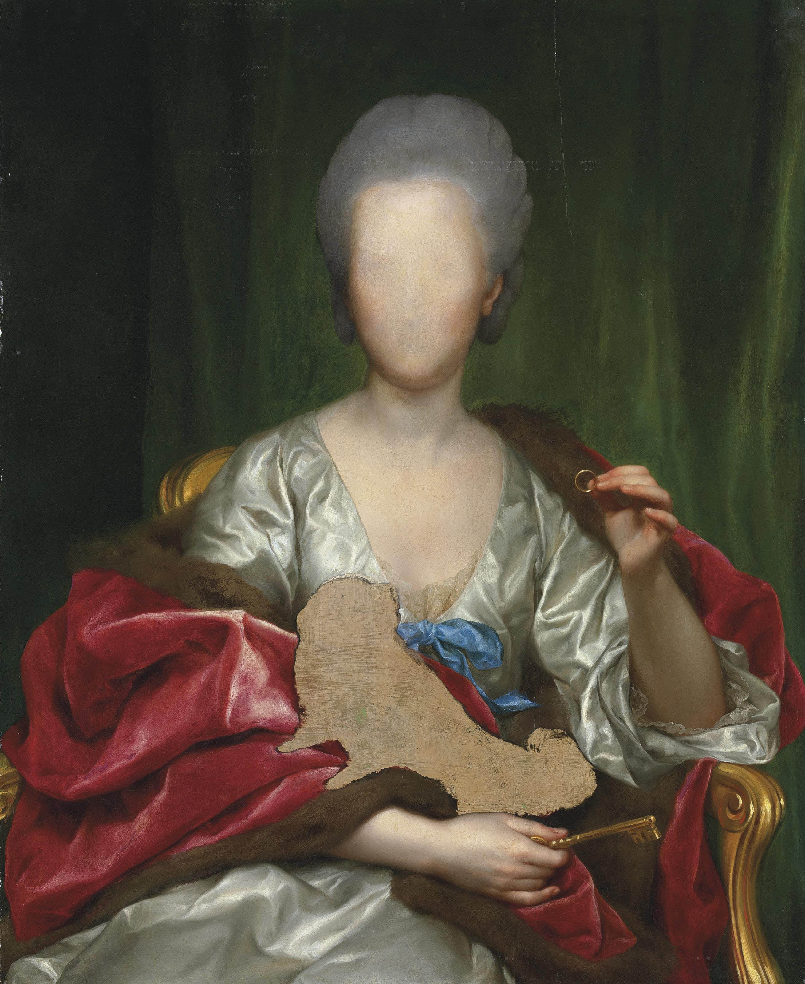 Portrait of Mariana de Silva y Sarmiento, duquesa de Huescar (1740-1784), half-length, in a white dress and fur-lined wrap, holding a ring and a key, a draped curtain beyond -- unfinished