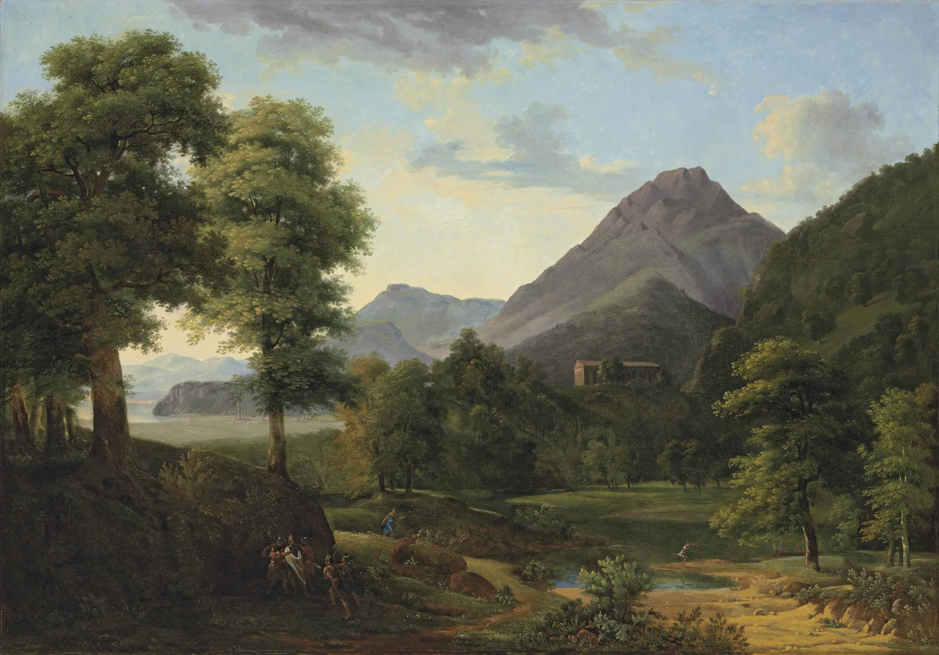 A wooded, mountainous landscape with soldiers capturing a centurion and a figure escaping by a river