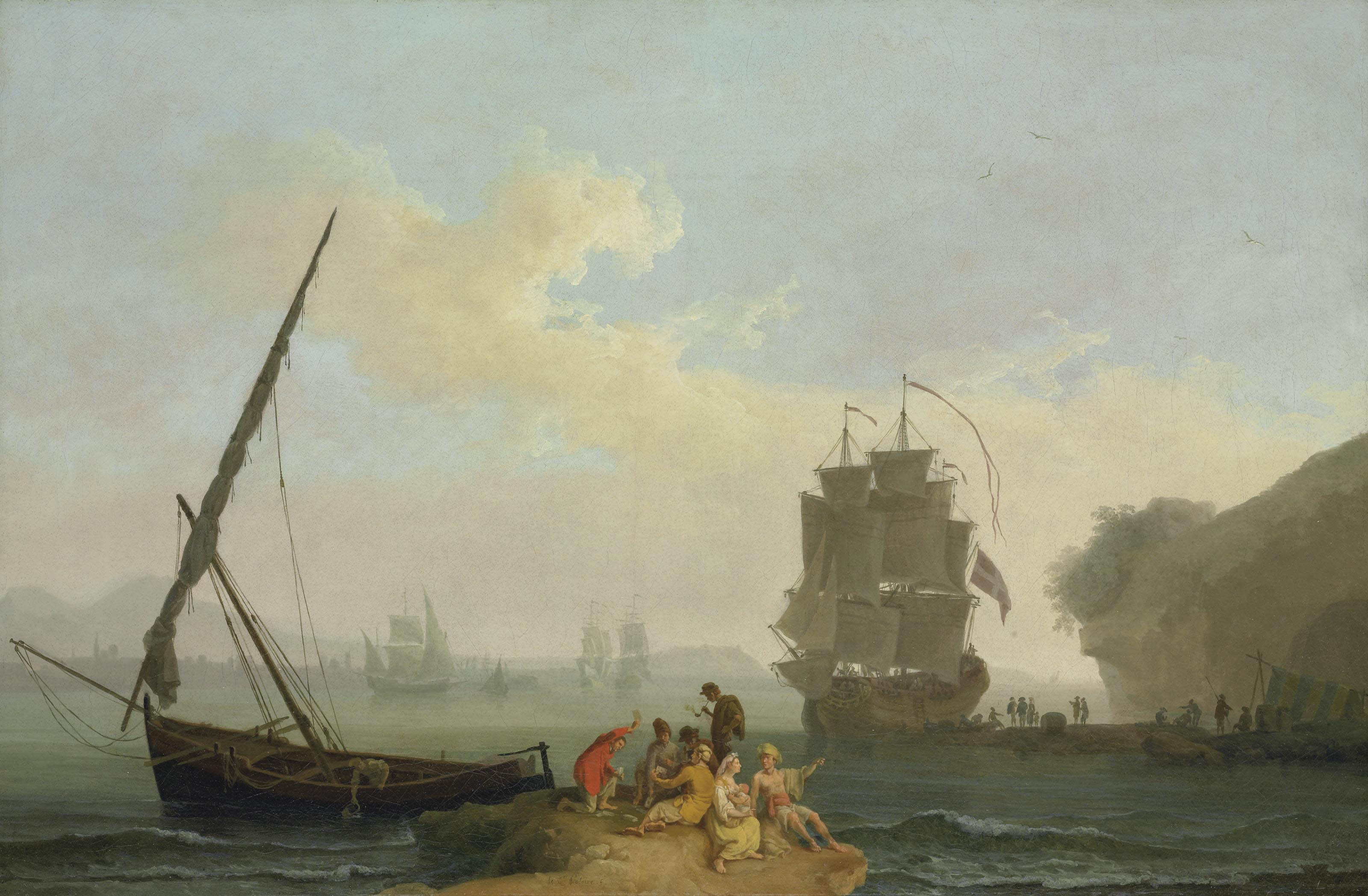 A mediterranean bay with figures unloading a man-o'-war, figures playing cards in the foreground, other vessels beyond