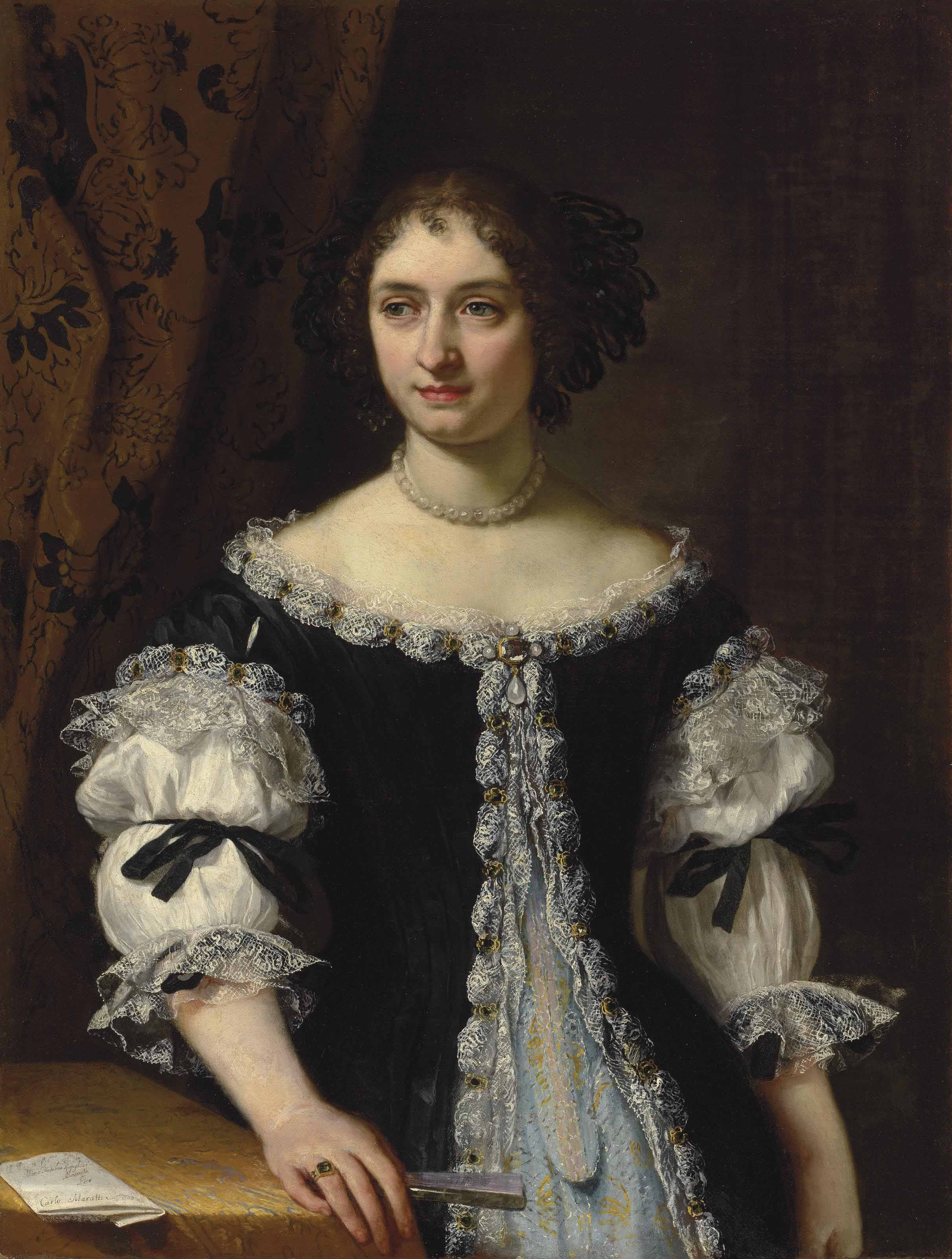 Portrait of Maria Maddalena Rospigliosi Panciatichi (1645-1695), half-length, in a black surcote trimmed with silver embroidery over a brocade gown, holding a fan, by a draped table with a letter