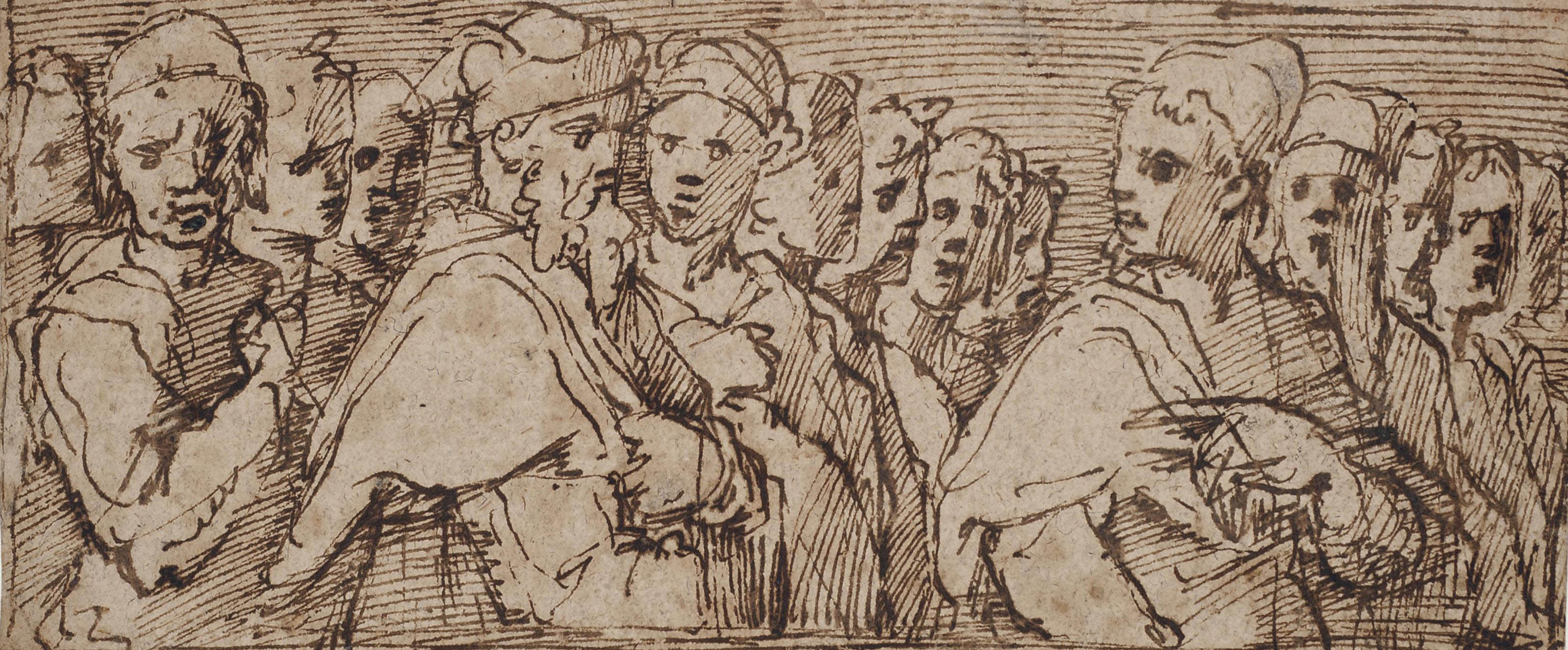 A frieze showing the heads of a group of men