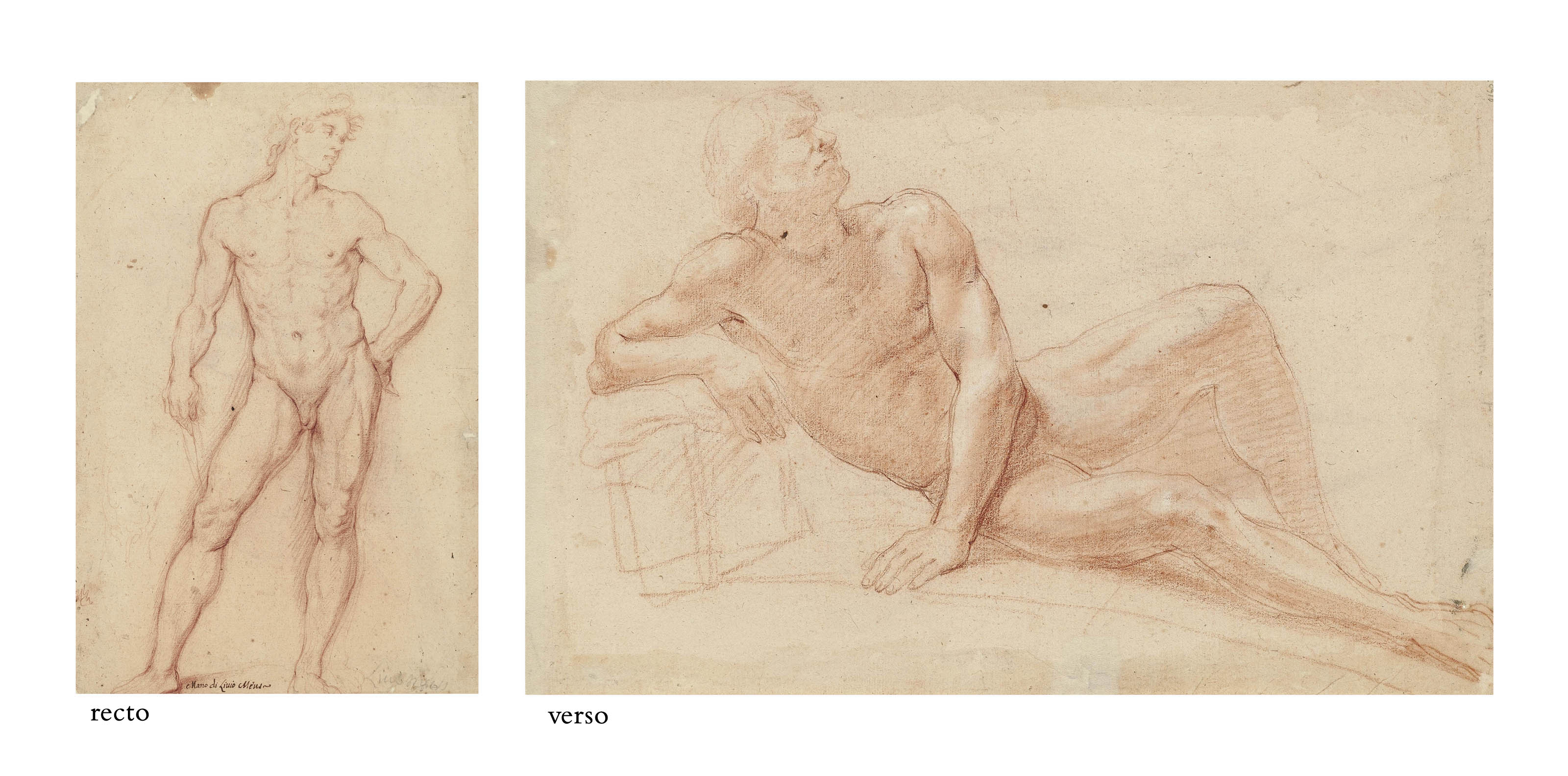 A standing male nude holding a sling, probably a study for a David (recto); A reclining male nude with eyes closed (verso)