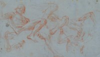 Figure studies for the fresco ceiling over the Neumann Staircase in the Residenz, Würzburg: Mars and a captive
